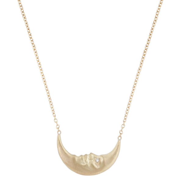 Anthony Lent gold crescent moon necklace