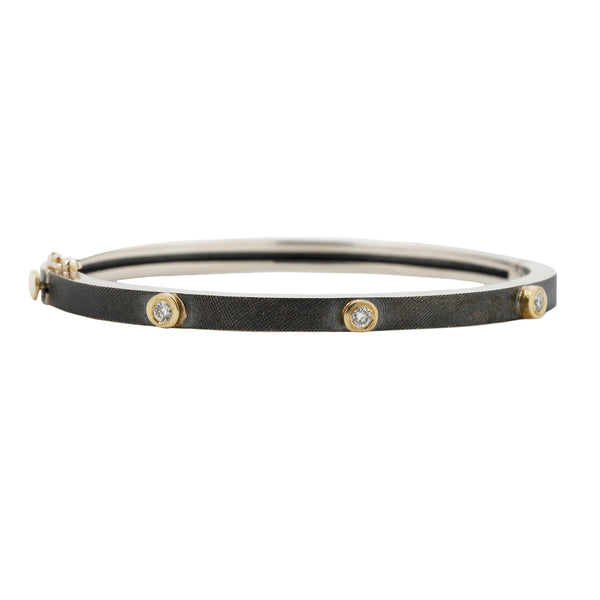 Junia Silver Three Diamond Bangle