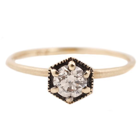Satomi Hexagon Brown Diamond Ring in Yellow Gold