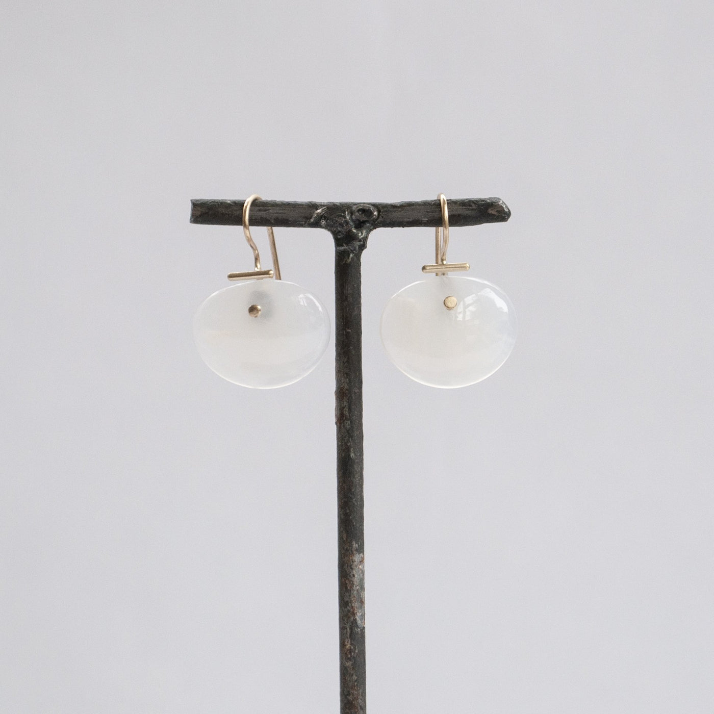 S. Yamane Studio Medium Lingzhi Kiku White Agate Earrings