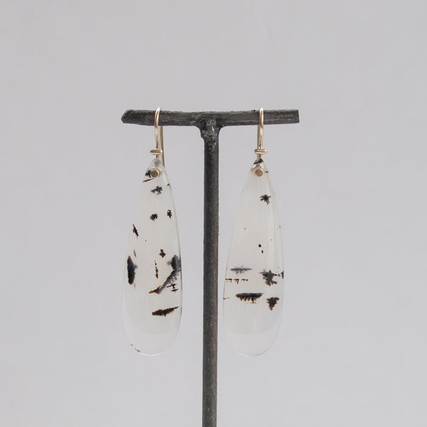 S. Yamane Studio Large Oval Light Agate Kiku Earrings
