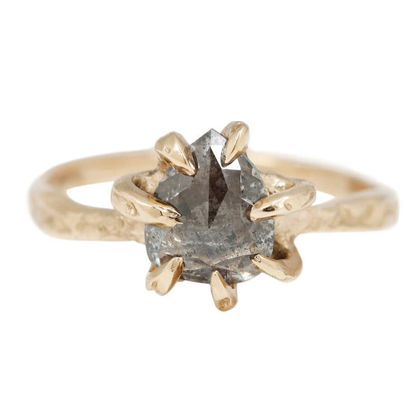 Salt & Pepper Diamond Stingray Claw Ring
