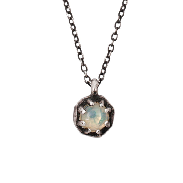 Tiny Opal Octagon Necklace