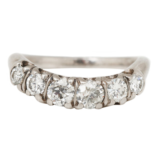 Vintage Platinum Nesting Ring with Six White Diamonds