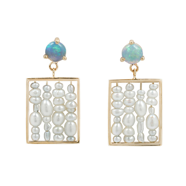 Pearl and Opal Abacus Earrings