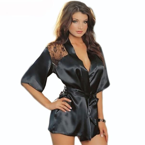 1PCS Hot Sexy Lingerie Plus Size Satin Lace Black Kimono Intimate Sleepwear Robe Sexy Night Gown Women Sexy Erotic Underwear - Lingerie