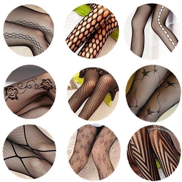 2017 Fashion Sexy Women Girls Core Wire Jacquard Club Panty Knitting Net Thin Pattern Tattoo Fishnet Stockings - Lingerie