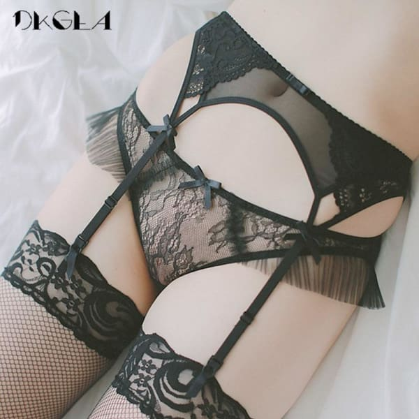 2018 Lace Black sexy stockings with garters for women Temptation Ultrathin Female Silk Suspender Belt Wedding Garters Belts - Lingerie
