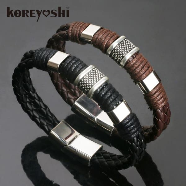 2018 new Jewelry Punk 2 color Zinc Alloy Accessories Weave Genuine leather Men braided Bracelet male Bangles pulseras hombre - Accessories