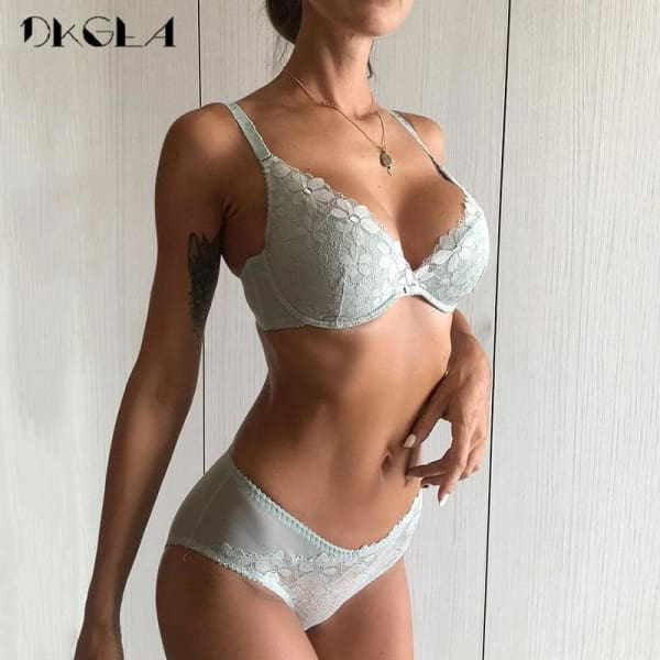 2018 White Lace Lingerie Sexy Bra Set Ultrathin Brassiere Embroidery Underwear Women Set Push Size Green Bra and Panties sets - Lingerie