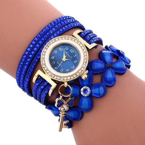 2018 Women watches New luxury Casual Analog Alloy Quartz Watch PU Leather Bracelet Watches Gift Relogio Feminino reloj mujer - Blue -