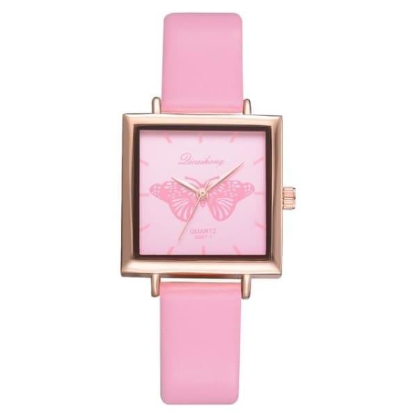 2019 Top Brand Square Women Bracelet Watch Contracted Leather Crystal WristWatches Women Dress Ladies Quartz Clock Dropshiping - 1037 Pink -