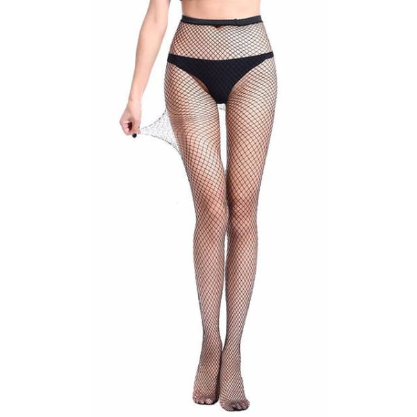2019 Women Sexy Fishnet Stockings Fish Net Fashion Pantyhose Mesh Black Stockings Lingerie Thigh High Stocking medias de mujer - Middle Mesh