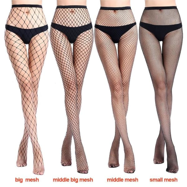 2019 Women Sexy Fishnet Stockings Fish Net Fashion Pantyhose Mesh Black Stockings Lingerie Thigh High Stocking medias de mujer - Lingerie