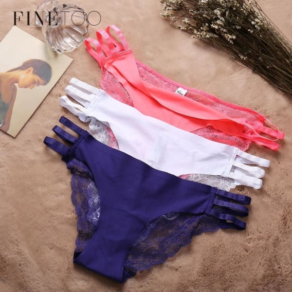 3 PACK Lace Briefs For Women Hollow Out Lace Panties Female Underwear Fashion 5 Colors - Panties