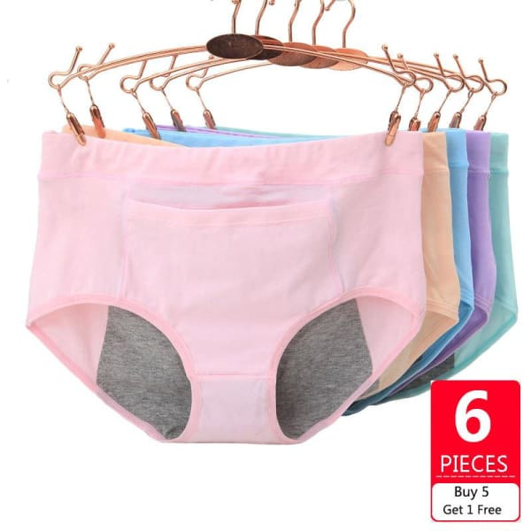 6 PACK Leak Proof Menstrual Period Panties Women Underwear Physiological Pants Healthy Cotton Seamless Ladies Panties - Panties