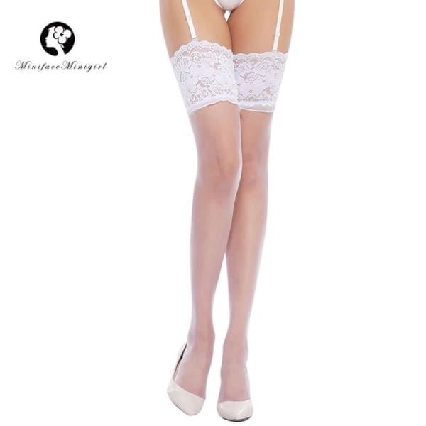 83cm Long Sexy Women White Black Solid Stockings Lace Decoration Lingerie Pantyhose Ladies Thigh High Stockings - Lingerie