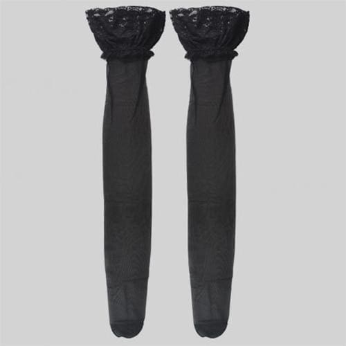 83cm Long Sexy Women White Black Solid Stockings Lace Decoration Lingerie Pantyhose Ladies Thigh High Stockings - Black - Lingerie