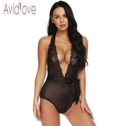 Avidlove Women Bodystocking Satin Two Piece Sexy Lingerie Bodysuit Sheer Lace Patchowork Teddy High Waist Panty with Belt - Black / L -