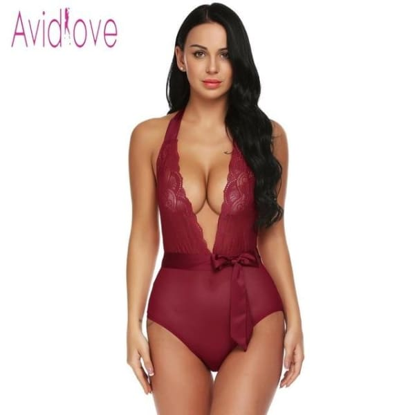 Avidlove Women Bodystocking Satin Two Piece Sexy Lingerie Bodysuit Sheer Lace Patchowork Teddy High Waist Panty with Belt - dark red / L -
