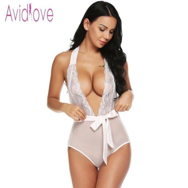 Avidlove Women Bodystocking Satin Two Piece Sexy Lingerie Bodysuit Sheer Lace Patchowork Teddy High Waist Panty with Belt - White / L -