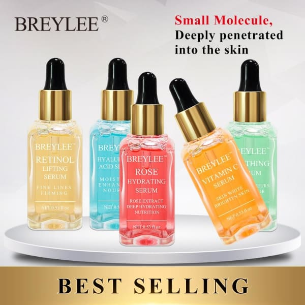BREYLEE Serum Series Hyaluronic Acid Vitamin C Whitening Face Skin Care Rose Nourish 24k Gold Firm Soothing Repair Essence 1pcs - Beauty