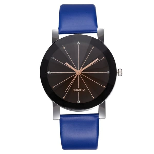 GENEVIVIA Luxury Brand Mens Watch Quartz Dial Clock Leather Wrist Watch Round Case Stainless Steel Business Wristwatch - Blue - Accessories