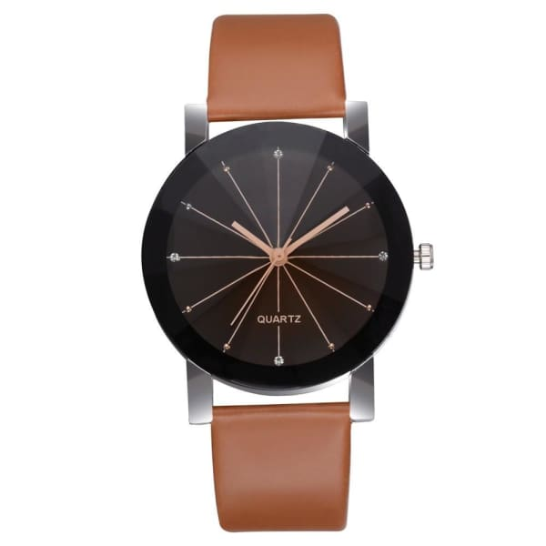 GENEVIVIA Luxury Brand Mens Watch Quartz Dial Clock Leather Wrist Watch Round Case Stainless Steel Business Wristwatch - Brown - Accessories