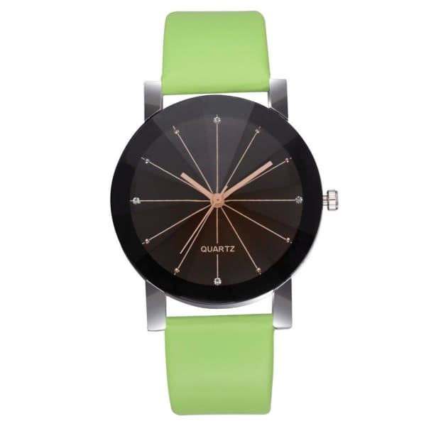 GENEVIVIA Luxury Brand Mens Watch Quartz Dial Clock Leather Wrist Watch Round Case Stainless Steel Business Wristwatch - Green - Accessories