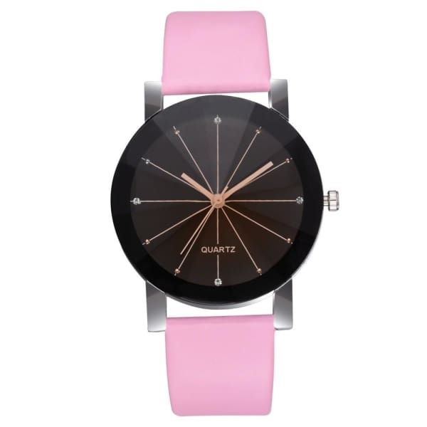 GENEVIVIA Luxury Brand Mens Watch Quartz Dial Clock Leather Wrist Watch Round Case Stainless Steel Business Wristwatch - Pink - Accessories