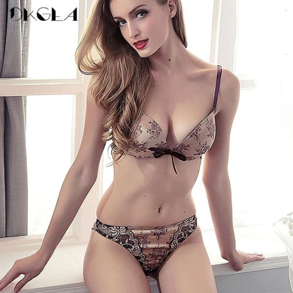 Luxury Printing Underwear Set Women Bow Fashion Red Push Up Bra Panties Sets Sexy Lingerie Embroidery Lace Bra Set Cotton Thick - Lingerie