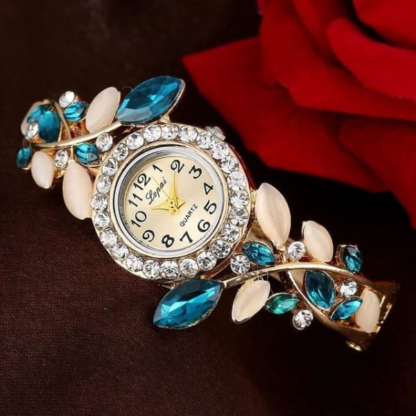 Lvpai Fashion Vintage Women Dress Watches Colorful Crystal Women Bracelet Watch Wristwatch Casual Gift Dress Clock Red Watches - Blue -