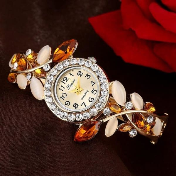 Lvpai Fashion Vintage Women Dress Watches Colorful Crystal Women Bracelet Watch Wristwatch Casual Gift Dress Clock Red Watches - Gold -
