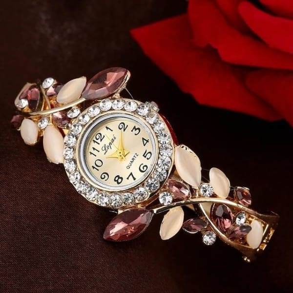 Lvpai Fashion Vintage Women Dress Watches Colorful Crystal Women Bracelet Watch Wristwatch Casual Gift Dress Clock Red Watches - Purple -