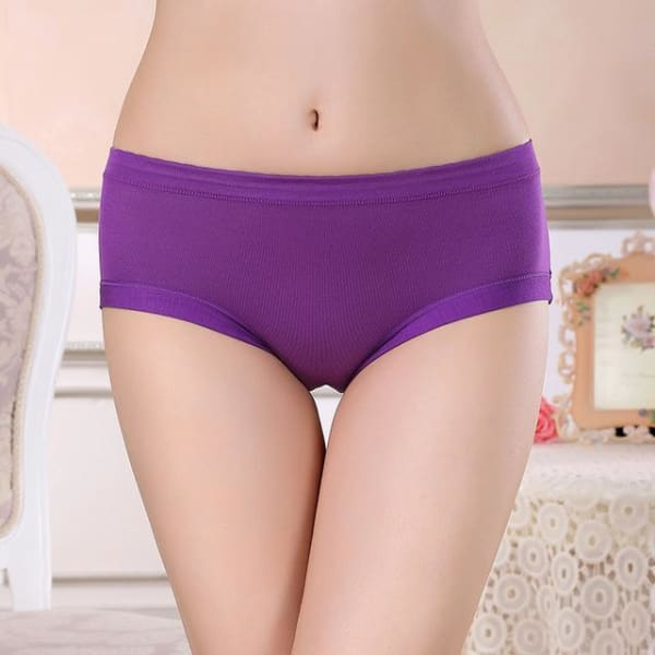Menstrual Period Underwear Women Modal Cotton Panties Ladies Seamless Lengthen Panties Physiological Leakproof Female Underwear - Purple / L