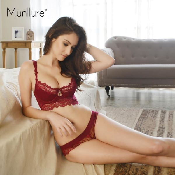 Munllure Ultra-thin Sexy Lace Bra Set Plus size Girl Brassiere Push up Bra and Panties Female Ladies Women Underwear Set - Lingerie