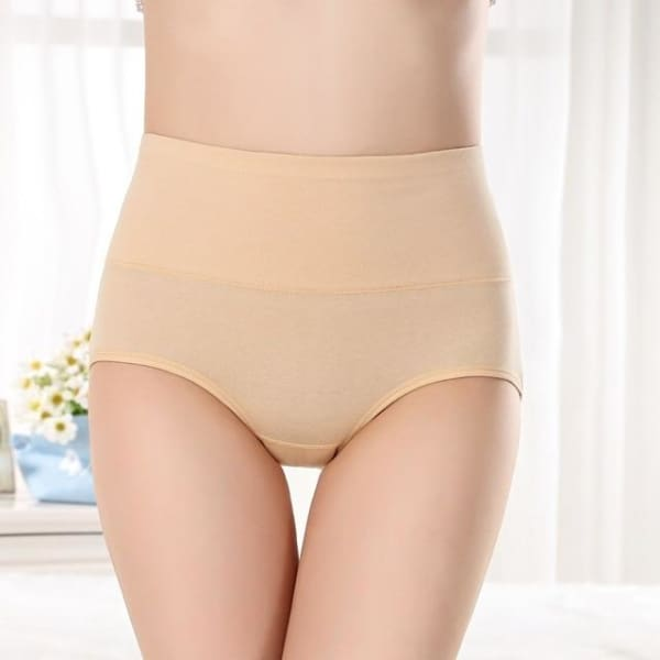 SEEDRULIA Womens briefs Comfortable Cotton High waist underwear Women Sexy Ultra-thin Panties - beige / XL - Panties