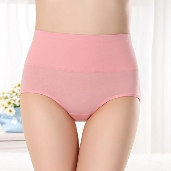 SEEDRULIA Womens briefs Comfortable Cotton High waist underwear Women Sexy Ultra-thin Panties - pink / XL - Panties