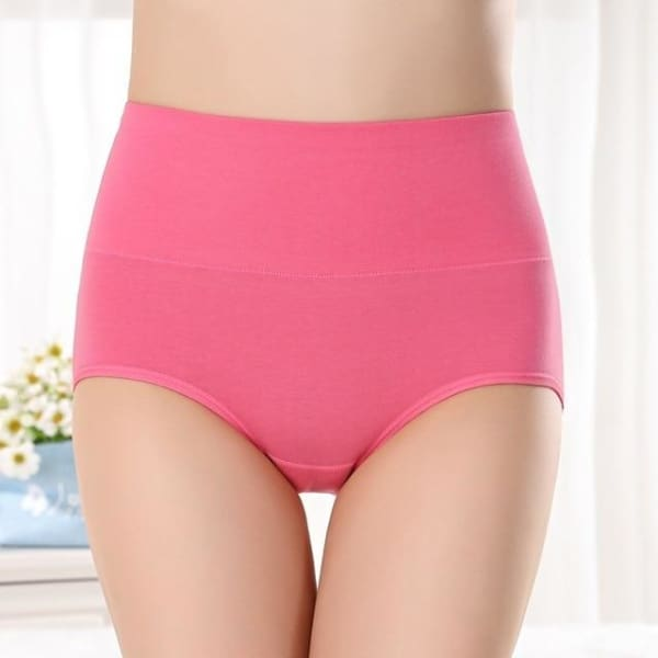SEEDRULIA Womens briefs Comfortable Cotton High waist underwear Women Sexy Ultra-thin Panties - rose / XL - Panties