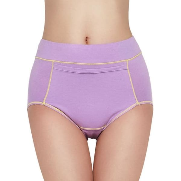 Women Menstrual Panties Period Physiological Pants for Girls Warm Female Cotton Leak Proof Sexy Underwear Breathable Briefs - Light Purple /