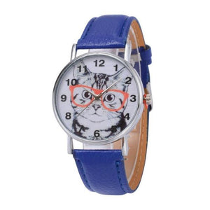 Cat In Glasses Women's Watch watches PetsWheel Blue