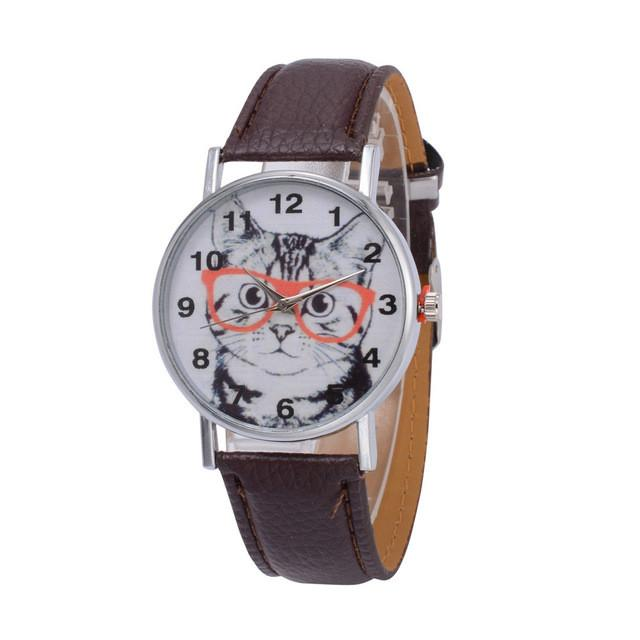 Cat In Glasses Women's Watch watches PetsWheel Brown