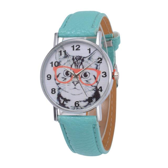 Cat In Glasses Women's Watch watches PetsWheel Green
