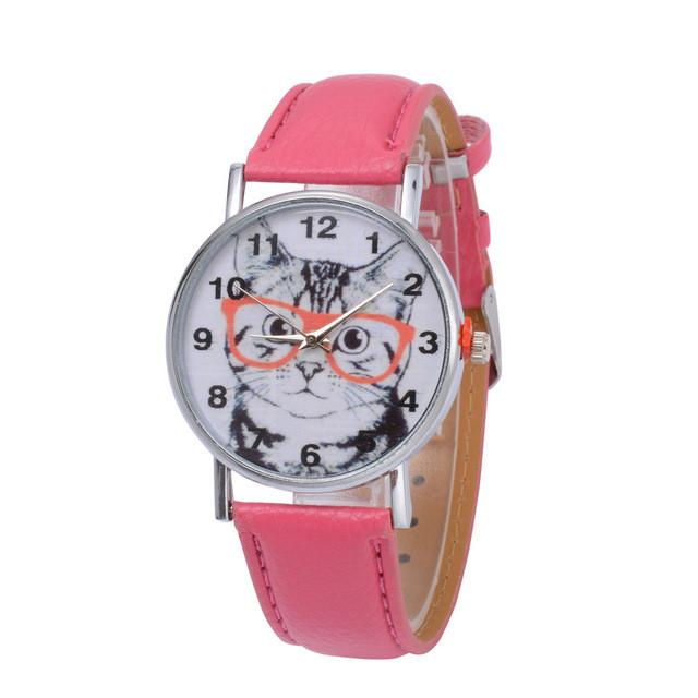 Cat In Glasses Women's Watch watches PetsWheel Hot Pink