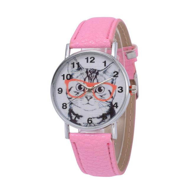 Cat In Glasses Women's Watch watches PetsWheel Pink