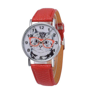 Cat In Glasses Women's Watch watches PetsWheel Red