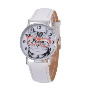 Cat In Glasses Women's Watch watches PetsWheel White