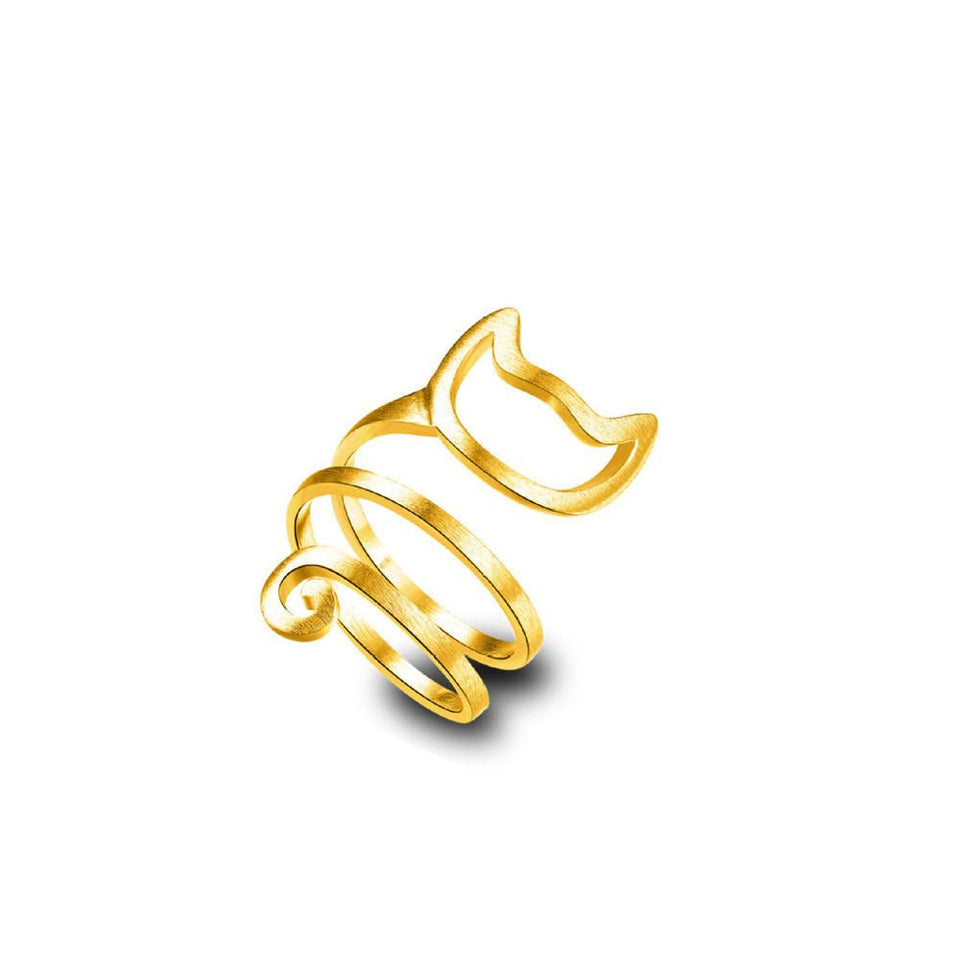 Cute Cat Ring ring PetsWheel Gold one-size