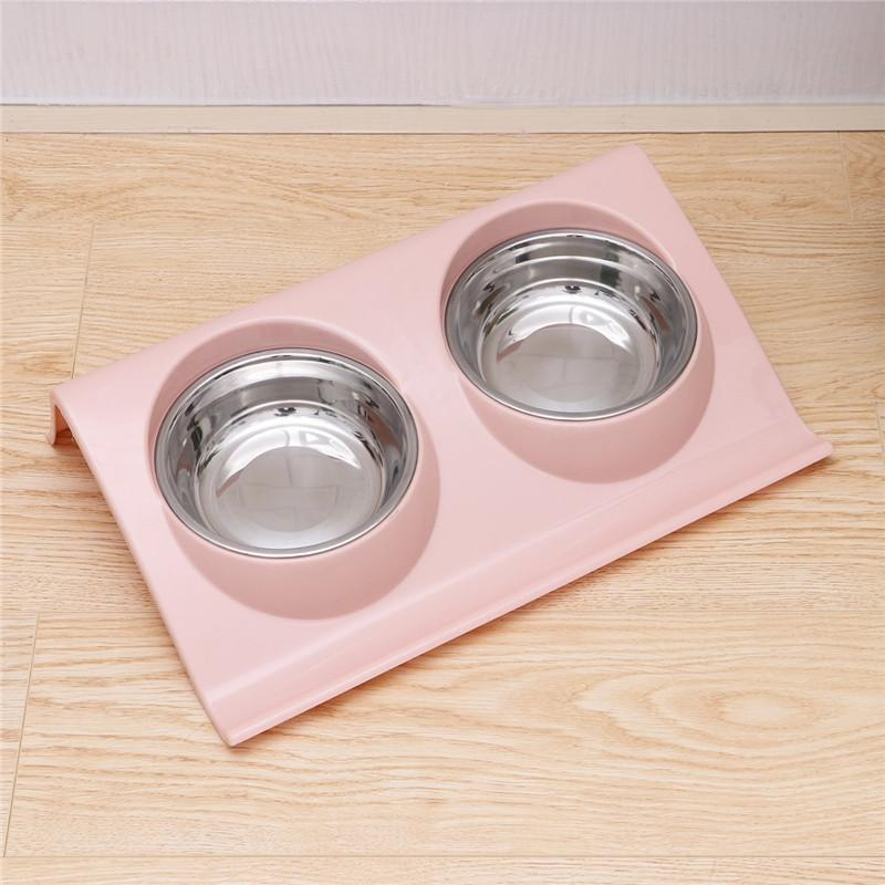 Double Stainless Steel Food and Water Dog Bowls bowl PetsWheel