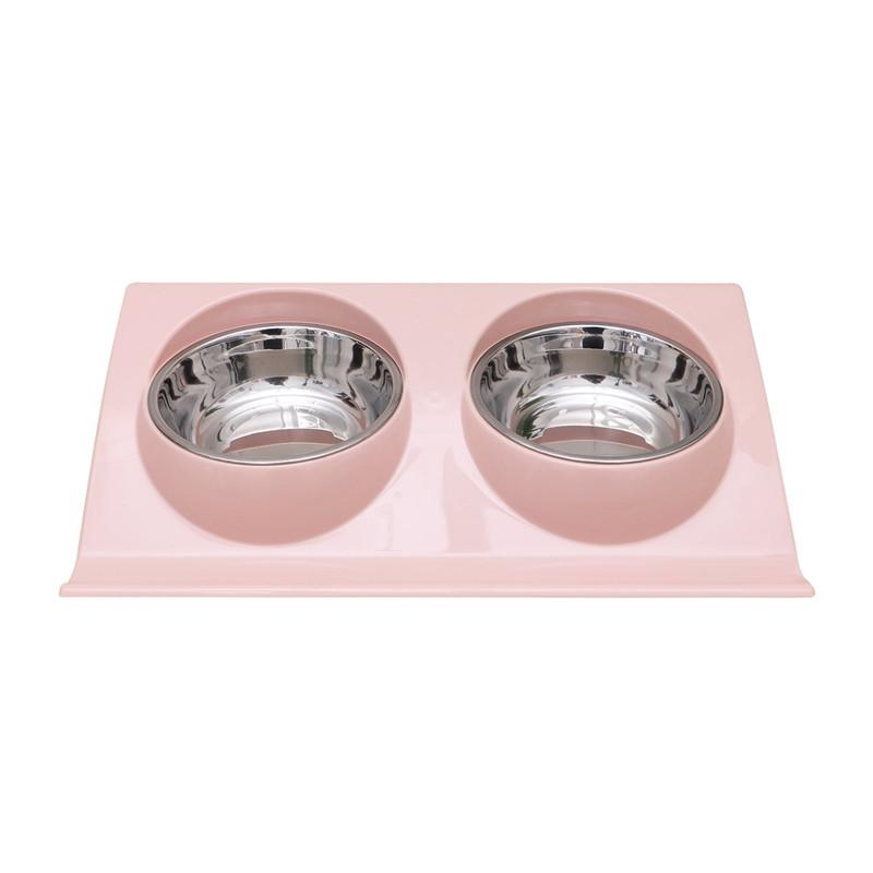 Double Stainless Steel Food and Water Dog Bowls bowl PetsWheel Default Title